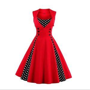 Red and black polka dot dapper pinup Dress